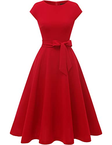 DRESSTELLS Women's Prom Tea Dress Vintage Swing Cocktail Party Dress with Cap-Sleeves Red 2XL