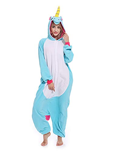 Adult Unisex Unicorn Onesie Pajamas Animal Costume Cosplay Sleepwear Pajamas for Women Men -