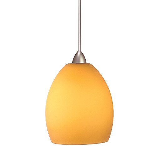 AM/BN Sarah 1-Light 12V MonoPoint Pendant with Amber Art Glass Shade, Brushed Nickel Finish (Sara Mini Pendant)