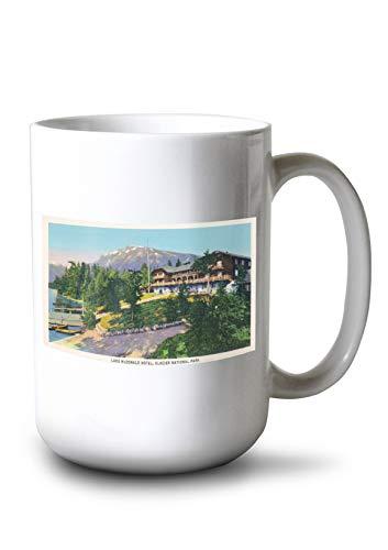- Lantern Press Glacier National Park, Montana - Exterior View of The Lake McDonald Hotel (15oz White Ceramic Mug)