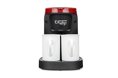 ID Italian CAFETERA COFFEE DUO PRO, 450w-IDECUCOF02, 450 W, 0.24 litros, Acero Inoxidable, Negro, Rojo