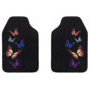Monarch Butterfly Front Floor Mats 2-pc Set Black Carpet