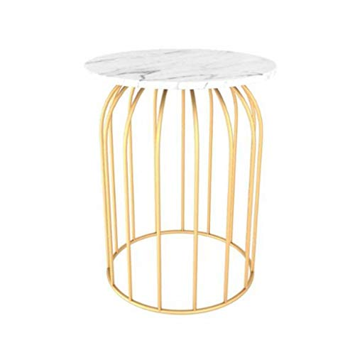 L-Life End Tables Side Table Golden Wrought Iron Linelace Marble 2 Tier Round Side Table Couch Table, Leisure Living Room Bedroom Reading Dining Table (Color : D, Size : 5060CM)