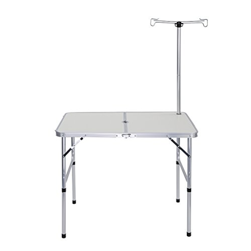 Finether Lightweight Adjustable Aluminum Folding Camping Table with Parasol Hole, Lantern Pole and Extension Poles for Indoor Outdoor, White