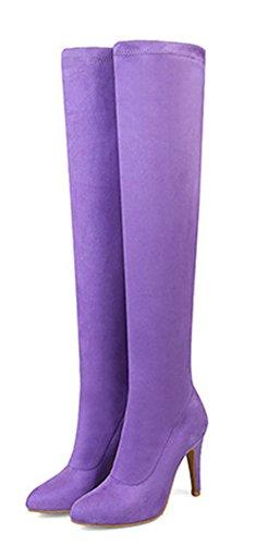 Aisun Haut Bottes Violet Sexy Femme Aiguille Talon Genou Extensible RqnRZCwxr