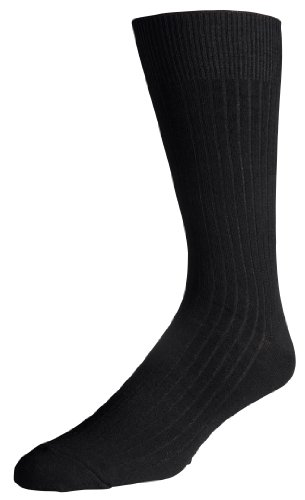 Classic Men's 3-pack Soft Ribbed Cotton Crew Dress Socks - Black (Size 10-13)