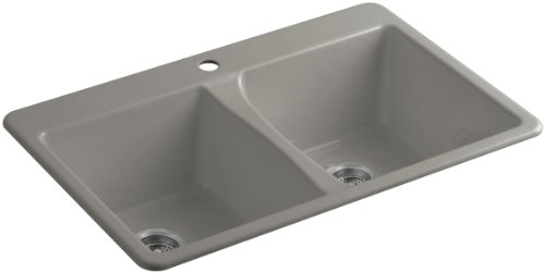Cashmere Fixture (KOHLER K-5873-1-K4 Deerfield Top-Mount Double-Equal Bowl Kitchen Sink with Single Faucet Hole, Cashmere)