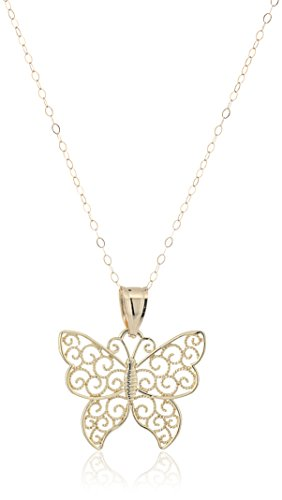 """14k Yellow Gold Butterfly with Filigree Pendant Necklace, 18"""""""