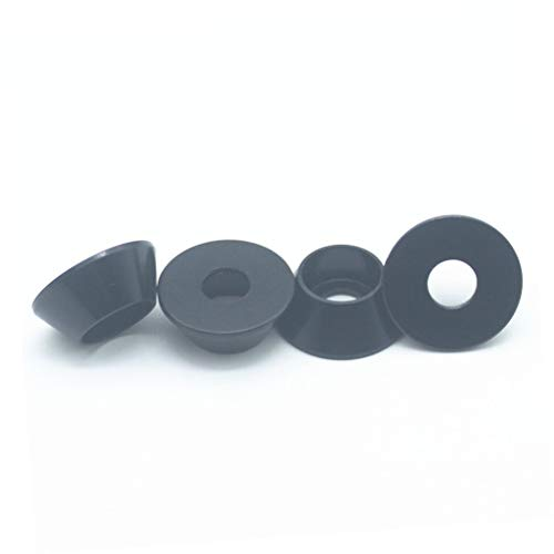 (50PCS M3 Cone Washer Aluminum Alloy Cone Cup Head Screw Gasket Conical Countersunk Fender Washer (Black))