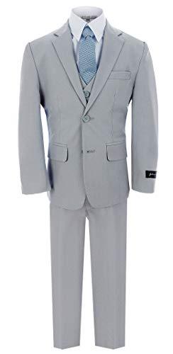 Johnnie Lene Dress Up Boys Designer Suit Set #JL5040 (8, Silver)