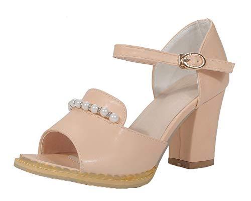VogueZone009 Women High-Heels Solid Buckle Pu Open-Toe Sandals, CCALP015211 Pink