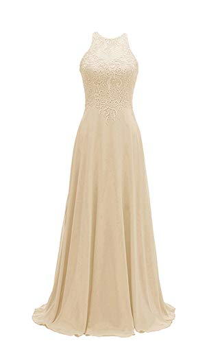 Women's Halter Bridesmaid Dresses Chiffon Long A-Line Lace Formal Wedding Party Gowns 2019 Champagne Size 2