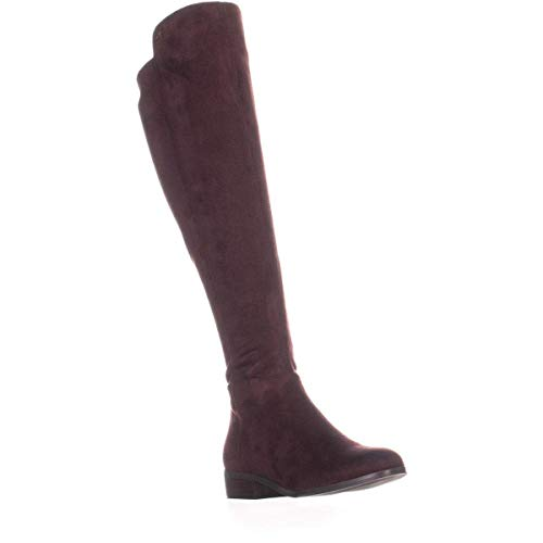 Michael Kors Womens Bromley Flat Boot Leather Closed Toe Over, Damson, Size 8.0 ()