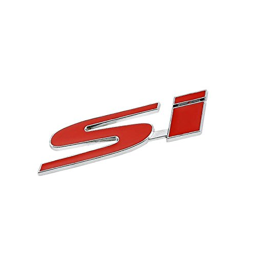 UrMarketOutlet SI Red/Chrome Aluminum Alloy Auto Trunk Door Fender Bumper Badge Decal Emblem Adhesive Tape Sticker