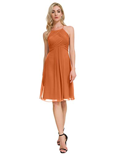 Alicepub Chiffon Bridesmaid Dresses Halter Cocktail Dress Short Homecoming Party Dresses, Burnt Orange, ()