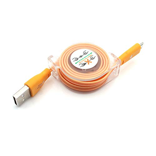 Tesla 2' Led - Lefthigh LED Light Micro USB to USB Retractable Cable Data Charger Charging Cord 1Meter (Orange)