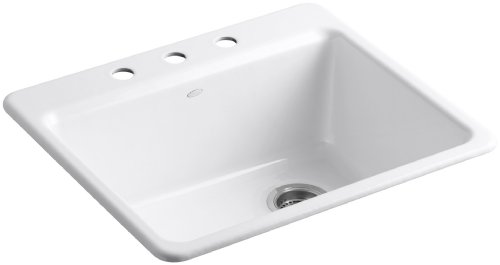 (KOHLER K-5872-3A1-0 Riverby Single Bowl Top-Mount Kitchen Sink with Three Holes and Bottom Basin Rack, White)