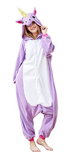 Unisex-Adult Animal Onesie Pajamas Halloween Cosplay Costume Unicorn Sleepwear