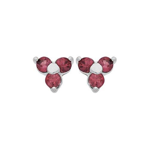 DIAMANTLY Boucles d'oreilles or gris 375 fleur 3 rubis