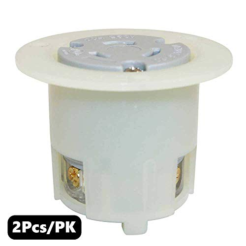 Superior Electric YGF045F Twist Lock Receptacle Flange 2-Pole 3-Wire 20A 250V NEMA L6-20R (2 Pack)