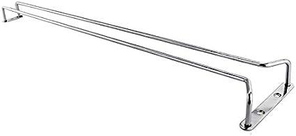 Velidy Wine Glass Rack,Stainless Steel Chrome Finish Under Cabinet Hanging Stemware Holder with Screw for Kitchen//Bar//Restaurant Silver, 13.7//35cm
