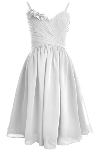 Dress Formal Short Party MACloth Weiß Bridesmaid Wedding Straps Spaghetti Gown 7awIxqPB