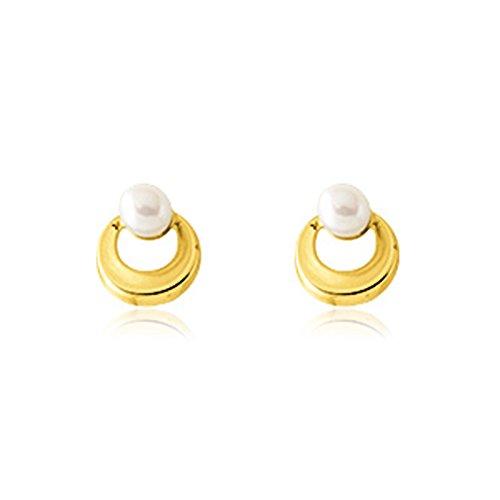 Tousmesbijoux Boucles d'oreilles en Or jaune 375/00 et perle d'eau douce