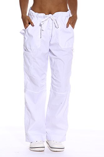 24000PWHT-26-XS Just Love Women's White Scrub Pants / Scrubs - X-Small,White Utility Pant With Chevron (Halloween Scrubs)