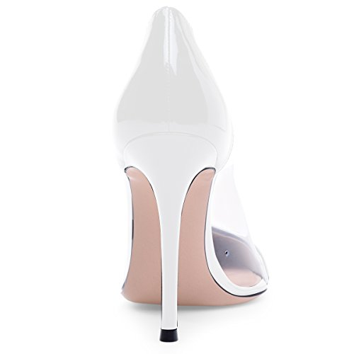 Trasparente Eldof 10 Scarpe Cap Event High Heel 10cm Transparent Centimetri Eventi Dress Wedding Pvc Toe Pvc Aguzza Shoes Stiletti Stilettos Eldof White Puntale Alto Tallone Pointed Abito Bianco Brevetto Womens Womens patent Pumps AqrBUA
