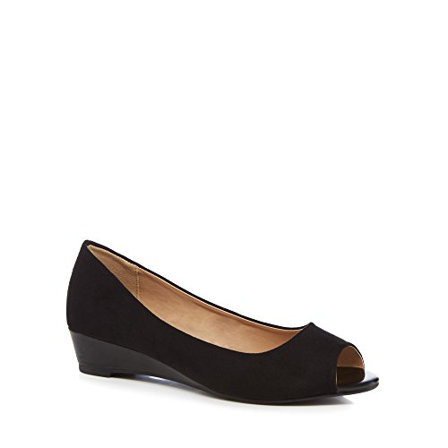 The Collection Womens Black Suedette 'Crayon' Peep Toe Sandals
