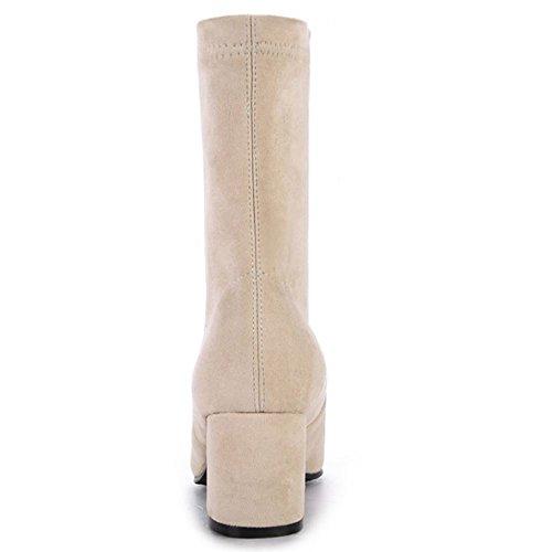 COOLCEPT Women Elegant Block Mid Heel Pull On Mid Calf Boots Beige HQOeeh3D