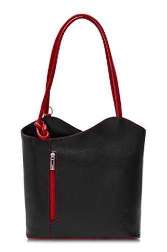 Tubería llevar z el o bolso LiaTalia Italiana Sin para Lujoso hecho mochila Negro legítima como damas cordoncillo en Piel Libby con Red en Trim hombro para de detalle SqB6aqfw