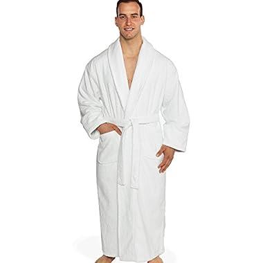 Turkishtowels Mens and Womens Original Terry Shawl Turkish Bathrobe, 100% Combed Pure Turkish Cotton Terry Robe (X-large, White)