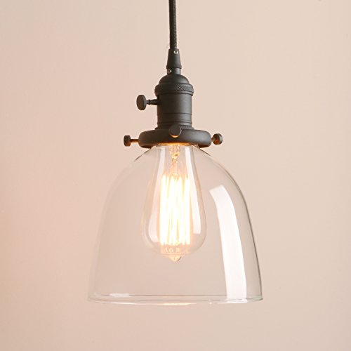 "Pathson Loft Vintage Oval-shaped Style Pendant Light Dia 6.7"" with Metal Base Cap and Adjustable Textile Cord Industrial Loft Vintage Design Pendant Lamp Flush Mount Ceiling Light Fixtures (Black)"