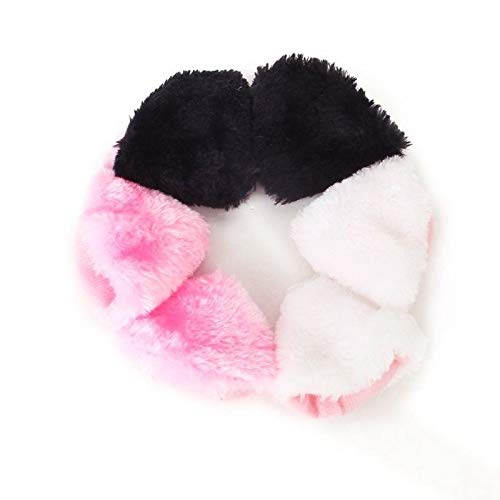 3 pair Cat Ears Cosplay Barrette Hair Pin Black, White and Pink X6H8