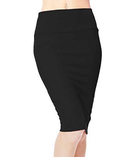 Urban CoCo Women's High Waist Stretch Bodycon Pencil Skirt (L, Black) -