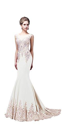 Rongstore Women`s Sleeveless Mermaid Evening Dresses Beaded Lace US16 Ivory