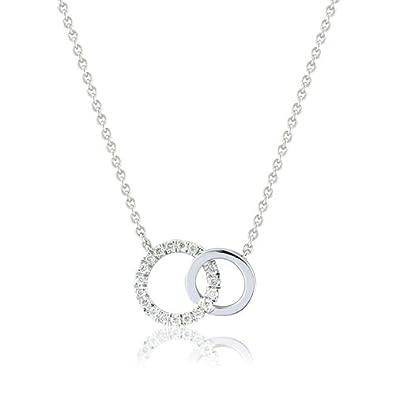 9ct White Gold Interlocking Rings Necklace with Diamonds Amazon
