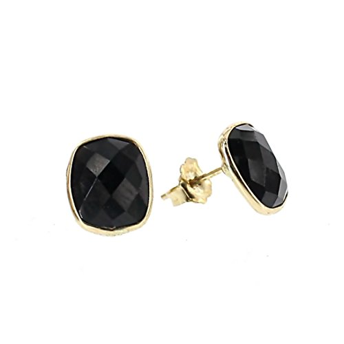 14K Yellow Gold Stud Earrings With Cushion Cut Black Onyx Gemstones by amazinite
