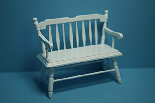 ShopForAllYou Figurines and Statues Dollhouse Miniature Deacons Bench Spindle Back in White ~ CLA10510