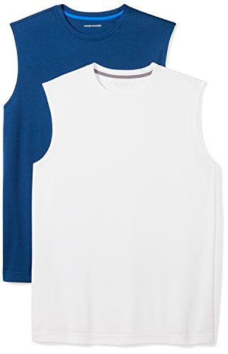 n's 2-Pack Performance Muscle T-Shirts, Navy/White, Small ()