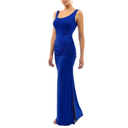 Survêtement Veste Daxin Plissé L'été Robe Amincissent Couleur Unie Divisée Robe Maxi Bleu Royal