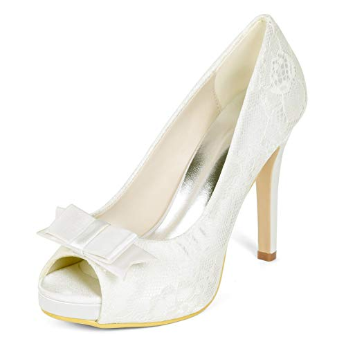 42 yc L Classic Toe Ivory Evening toe Mujer De Tamaño Zapatos Peep Boda Para Kitten 35 Heels Satin dvwrxqSvn
