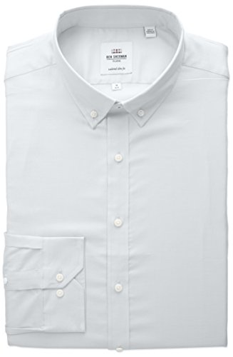(Ben Sherman Men's Slim Fit Oxford Button-Down Collar Dress Shirt, White, 18 34/35)