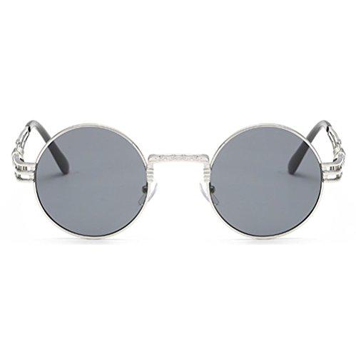 Juleya Mirror Retro Lunettes soleil Argent¨¦ Lens Round Gris Vintage Steampunk de UPFw4UxrqC