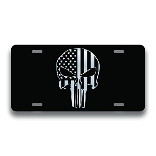 - Decals Home Decor & More Punisher Skull American Flag Vanity License Plate | Etched Aluminum | 6-Inches By 12-Inches | Car Truck RV Trailer Wall Shop Man Cave | VLP198