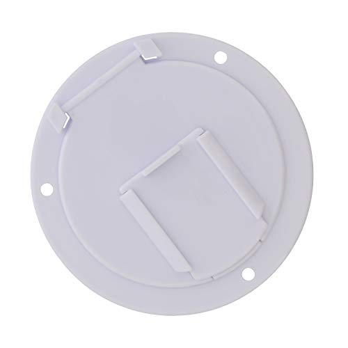 (Dumble Round Electric Cable Hatch for 50 Amp RV Electric Cord - RV Camper Electric Cord Cover, White)