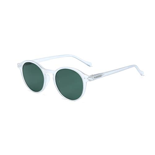 ZENOTTIC Polarized Vintage Classic Round Sunglasses UV400 For Men Women (MATTE CRYSTAL/GREEN)