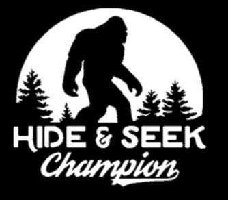 CMI298 Bigfoot Hide and Seek World Champion Vinyl Decal Sticker sasquatch believe funny car