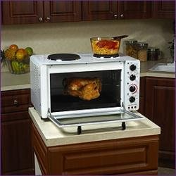 Ordinaire Avanti OCRB34W 1.3 Cubic Foot Convection Oven With 2 Cooktop Burners